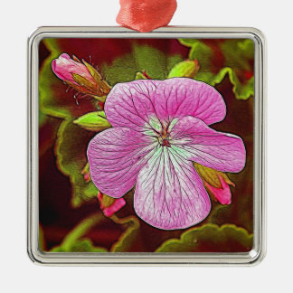 Flower Image manipulated for artistic effect (3).J Silver-Colored Square Decoration