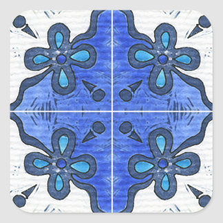 Flower in Blue Inspired by Portuguese Azulejos Square Sticker