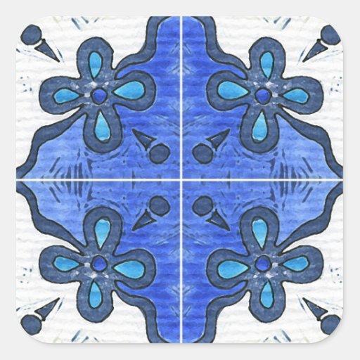 Flower in Blue Inspired by Portuguese Azulejos Sticker