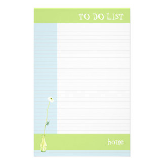 Flower in Green To Do List Stationery