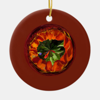 Flower in the globe yellow and red christmas ornament