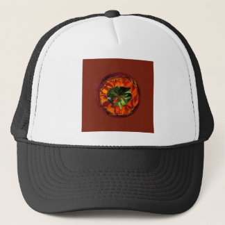 Flower in the globe yellow and red trucker hat