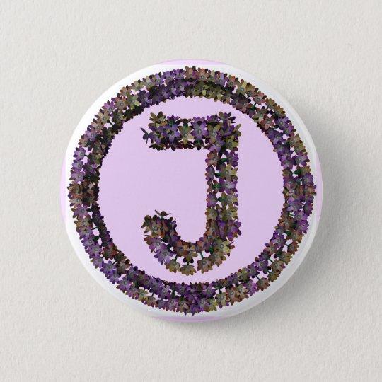 Flower Initial J 6 Cm Round Badge