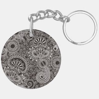 Flower Jungle Black Acrylic Key Chain