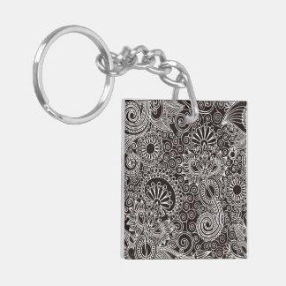 Flower Jungle Black Square Acrylic Keychain