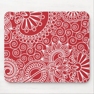 Flower Jungle Red Mouse Pad