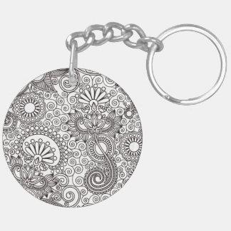 Flower Jungle White Double-Sided Round Acrylic Key Ring