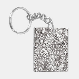 Flower Jungle White Square Acrylic Key Chain