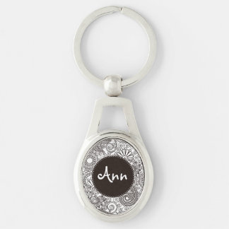 Flower Jungle White Silver-Colored Oval Metal Keychain