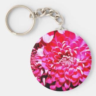 Flower Basic Round Button Key Ring