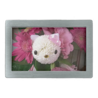 Flower Kitty Rectangular Belt Buckle
