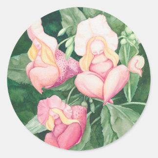 flower ladies classic round sticker