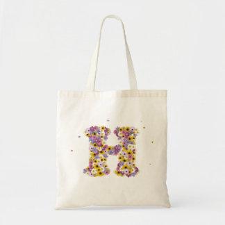 Flower letter H Budget Tote Bag