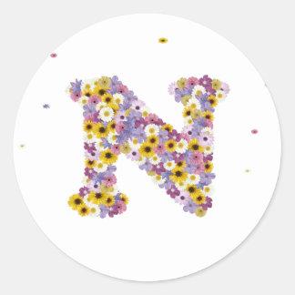 Flower letter N Round Sticker
