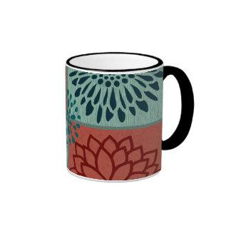 Flower Line Art Red Blue Color Blocks Pattern Ringer Mug