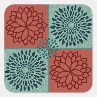 Flower Line Art Red Blue Color Blocks Pattern Square Sticker