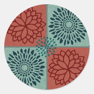 Flower Line Art Red Blue Color Blocks Pattern Sticker