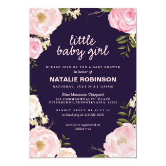 flower little baby girl baby shower invitations