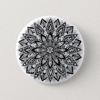 Flower Mandala black and white 6 Cm Round Badge