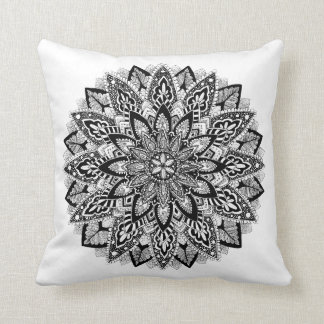 Flower Mandala black and white Cushion