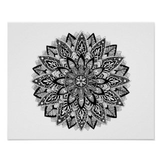 Flower Mandala black and white Poster
