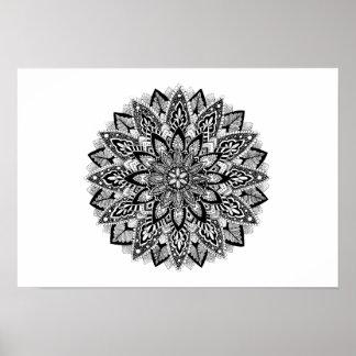 Flower Mandala black and white Poster