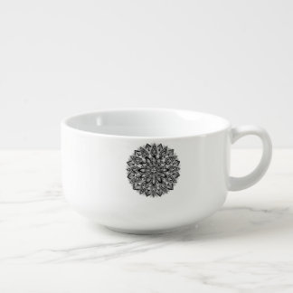 Flower Mandala black and white Soup Mug