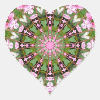 Flower Mandala, Bleeding heart, pink Heart Sticker
