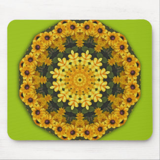 Flower-Mandala, Brown Eye Susans Mouse Pad