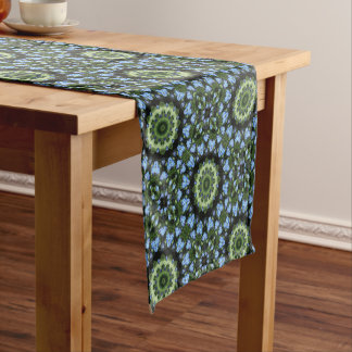 Flower Mandala, Forget-me-nots Short Table Runner