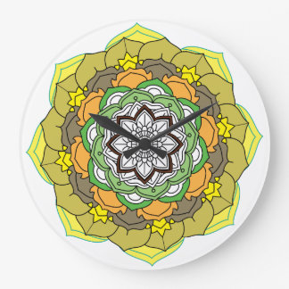 Flower Mandala in turquoise colors Large Clock