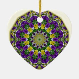Flower Mandala, Pansies yellow, violett Ceramic Heart Decoration