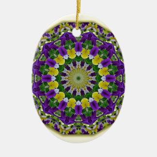 Flower Mandala, Pansies yellow, violett Ceramic Oval Decoration