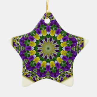 Flower Mandala, Pansies yellow, violett Ceramic Star Decoration