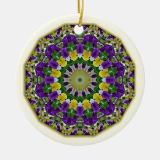 Flower Mandala, Pansies yellow, violett Round Ceramic Decoration