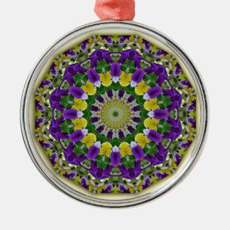 Flower Mandala, Pansies yellow, violett Silver-Colored Round Decoration
