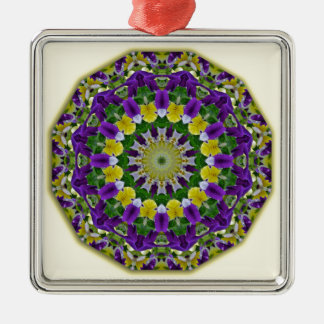 Flower Mandala, Pansies yellow, violett Silver-Colored Square Decoration