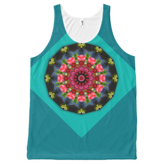 Flower-Mandala, red blossoms All-Over Print Tank Top