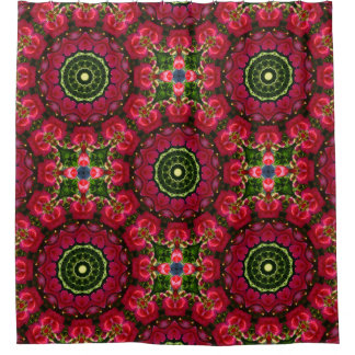 Flower Mandala, Red blossoms with hearts Shower Curtain