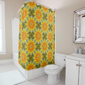 Flower-Mandala, Sunflower Shower Curtain