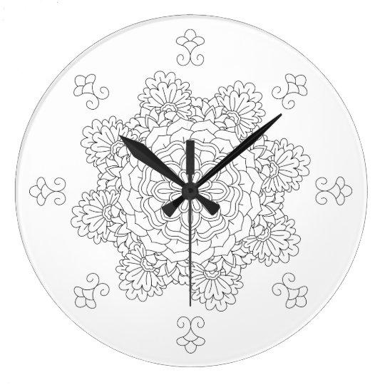 Flower Mandala. Vintage decorative elements. Orien Large Clock