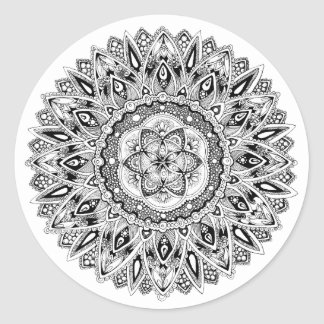 Flower mandala w/ seed of life classic round sticker