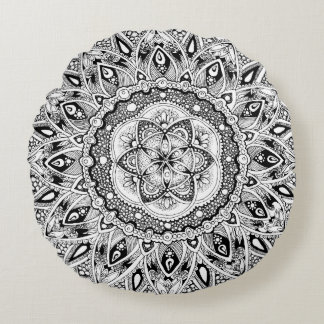 Flower mandala w/ seed of life round cushion