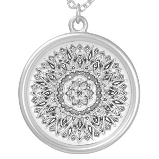 Flower mandala w/ seed of life silver plated necklace