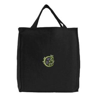 Flower Monogram Initial C Canvas Bag