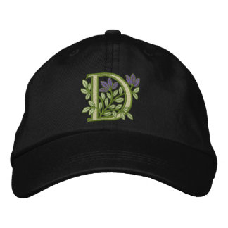 Flower Monogram Initial D Embroidered Hat