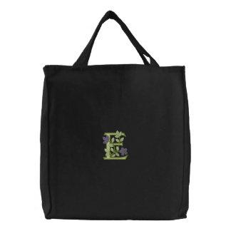 Flower Monogram Initial E Embroidered Bag