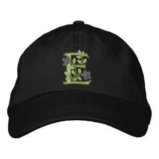 Flower Monogram Initial E Embroidered Hat