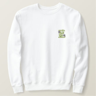 Flower Monogram Initial E Embroidered Sweatshirt