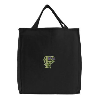 Flower Monogram Initial F Embroidered Bag